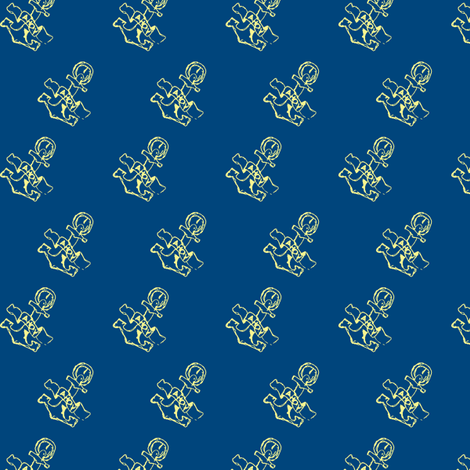 Anchor-print-ch. lemon on navy blue-ch fabric by madamsalami on Spoonflower - custom fabric