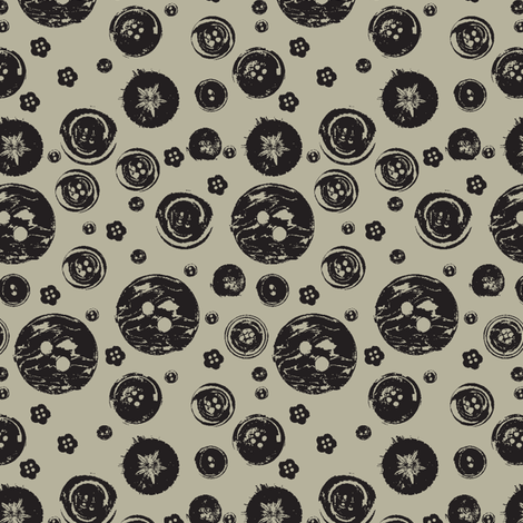 vintage-buttons-ch BLACK fabric by madamsalami on Spoonflower - custom fabric
