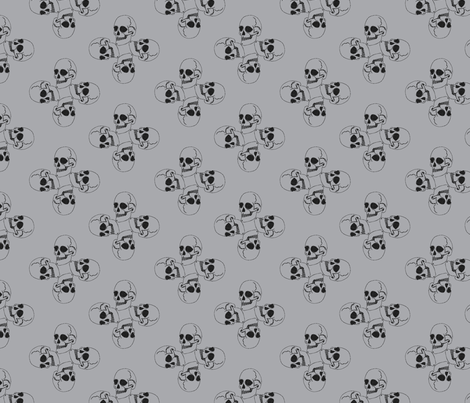 Skull-pattern1-ch. Grey/gray fabric by madamsalami on Spoonflower - custom fabric