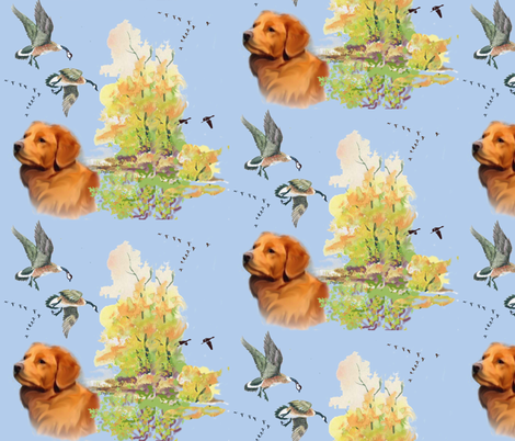 Duck toller and geese fabric by dogdaze_ on Spoonflower - custom fabric