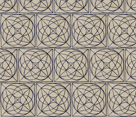 Flying Saucer on Natural Linen fabric by horn&ivory on Spoonflower - custom fabric