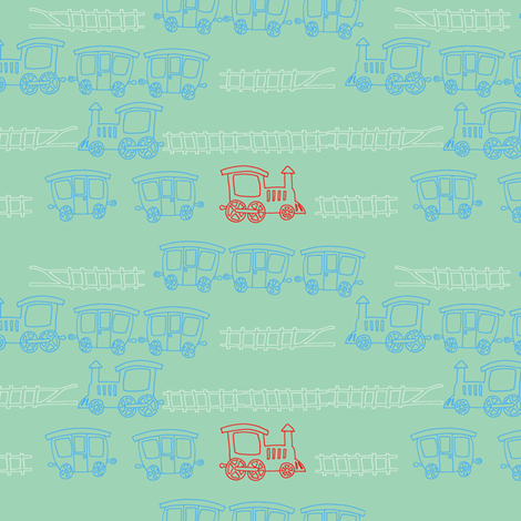red-engine-outline fabric by madamsalami on Spoonflower - custom fabric