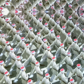 Soldiers in White and Red on Parade