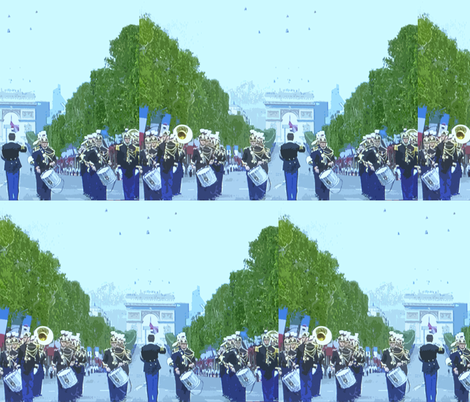 Bastille Day Parade with Helicopter Flyover, Paris 2012 fabric by susaninparis on Spoonflower - custom fabric