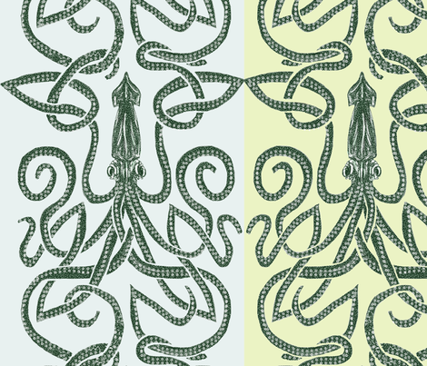 kraken-squid-paired fabric by wren_leyland on Spoonflower - custom fabric