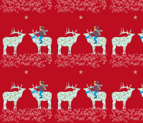 French Script Reindeer magical night fabric by karenharveycox on Spoonflower - custom fabric