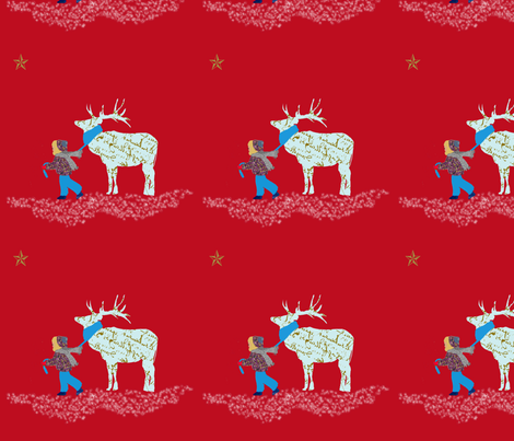 Samantha and her French script reindeer fabric by karenharveycox on Spoonflower - custom fabric