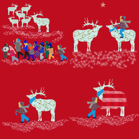French Script Reindeer and Samantha's magical ride fabric by karenharveycox on Spoonflower - custom fabric
