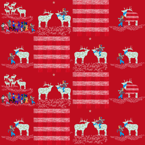 French Script Reindeer square fabric by karenharveycox on Spoonflower - custom fabric