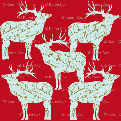 French Script Reindeer on red