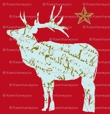 French Script Reindeer and Star on red