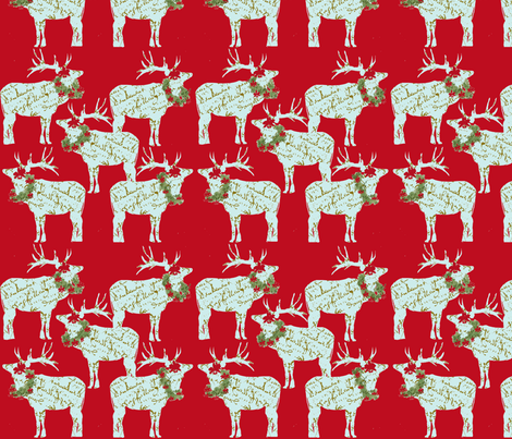 French Script Reindeer with wreaths on red fabric by karenharveycox on Spoonflower - custom fabric