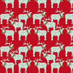 French Script Reindeer with wreaths on red