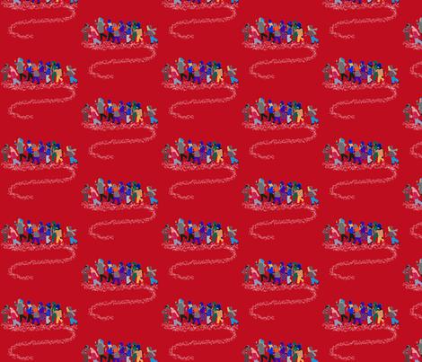 French Script reindeer children on red fabric by karenharveycox on Spoonflower - custom fabric
