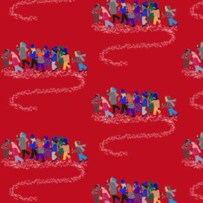 French Script reindeer children on red