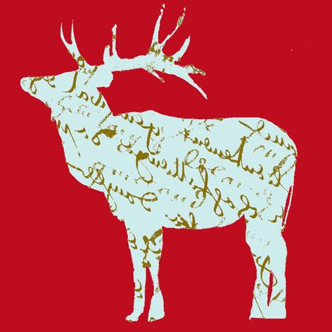 French Script reindeer on red fabric by karenharveycox on Spoonflower - custom fabric