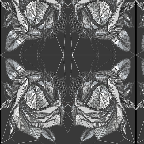 Gorgeous Art Noveau Rose Design Fabric in Black and White fabric by mandybeau on Spoonflower - custom fabric