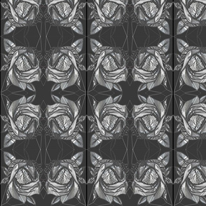Gorgeous Art Noveau Rose Design Fabric in Black and White