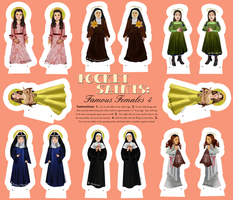 Pocket Saints: Famous Females 4 fabric by magneticcatholic on Spoonflower - custom fabric