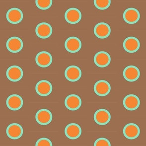 Retro Teal Dipped Orange Polka on Mocha