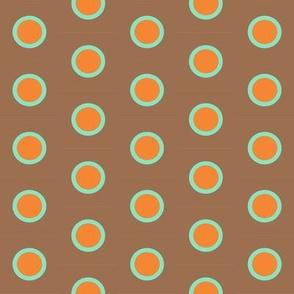 Retro Teal Dipped Orange Polka on Mocha
