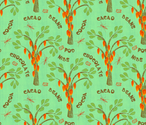 Cacao Trees with Midges and Mayan Glyph for Ka-kaw - tropic green  fabric by glimmericks on Spoonflower - custom fabric