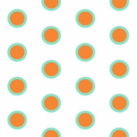 Retro Teal Dipped Mandarin on Snow Polka fabric by smuk on Spoonflower - custom fabric