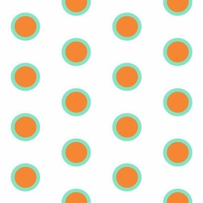 Retro Teal Dipped Mandarin on Snow Polka