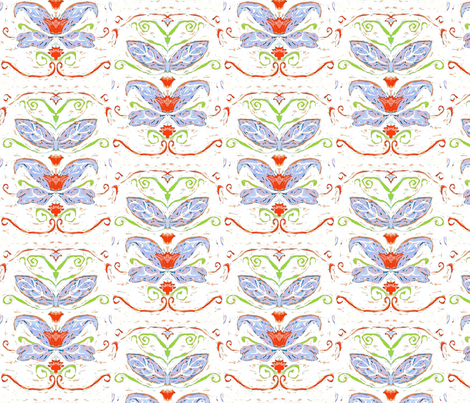 Scandinavian Blue Leaves fabric by shirley_sipler on Spoonflower - custom fabric
