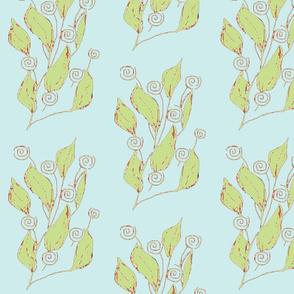 swirls n leaves bluegreen