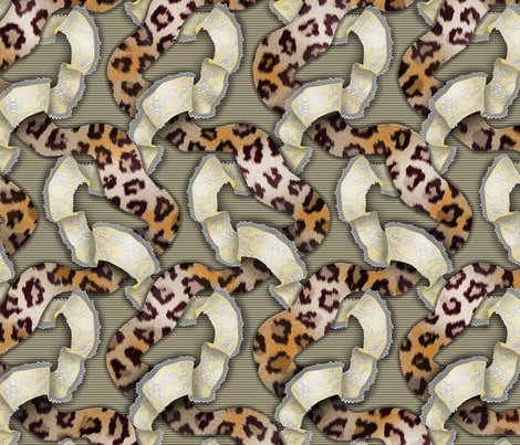 Leopards 'n' Lace - Meandering - Yellow fabric by bonnie_phantasm on Spoonflower - custom fabric