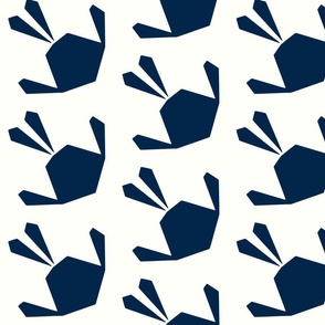 Origami Birds Plain Navy on White