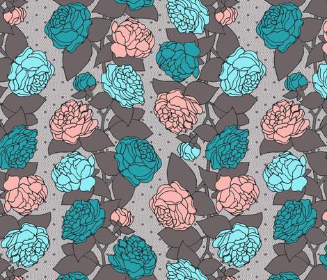 BEAU_FLEUR_STRIPE_peachy_teal fabric by glorydaze on Spoonflower - custom fabric