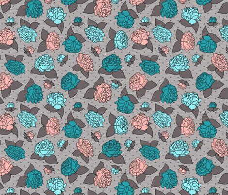 BEAU_FLEUR_peachy_teal fabric by glorydaze on Spoonflower - custom fabric