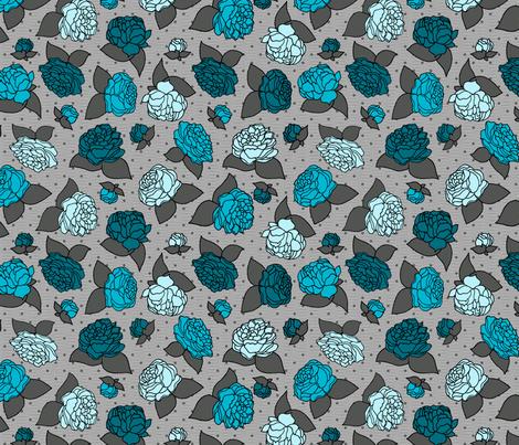 BEAU_FLEUR_rose_bleu fabric by glorydaze on Spoonflower - custom fabric