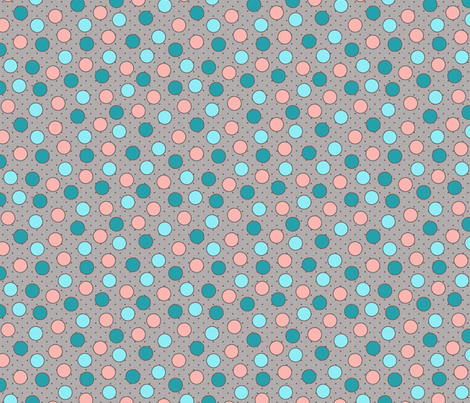 BEAU_FLEUR_spots_peachy_teal fabric by glorydaze on Spoonflower - custom fabric