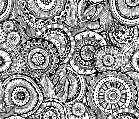 Doodle Flowers fabric by stefanie_vh on Spoonflower - custom fabric