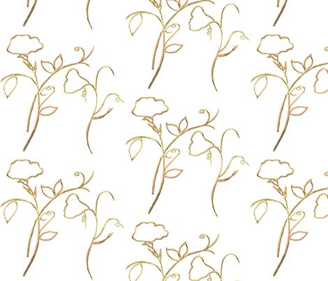 Gold Sweet Peas fabric by de-ann_black on Spoonflower - custom fabric