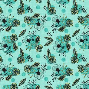 Mid century floral aqua