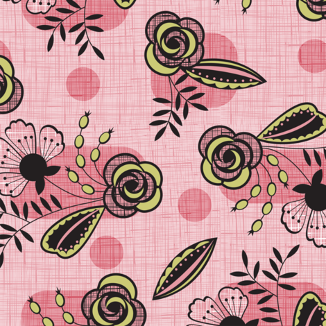 Mid century floral pink fabric by cjldesigns on Spoonflower - custom fabric