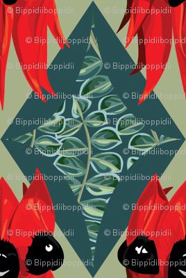 Sturt Desert Pea - diamond with leaves