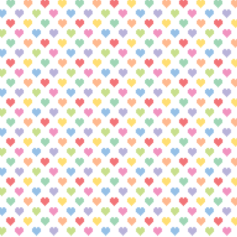 Tiny pixelated multicolored hearts fabric by petitspixels on Spoonflower - custom fabric