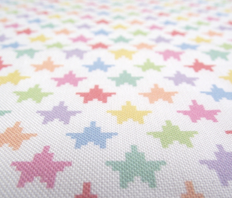 Tiny pixelated multicolored stars