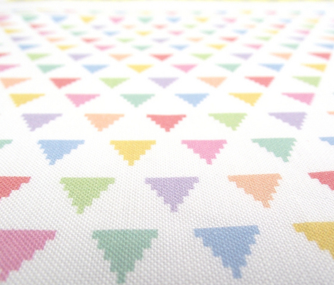 Tiny pixelated multicolored triangles
