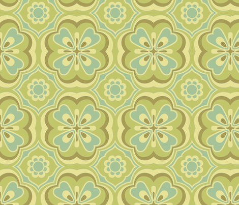 Retro Number 9 in Ginchy Green fabric by bradbury_&_bradbury on Spoonflower - custom fabric