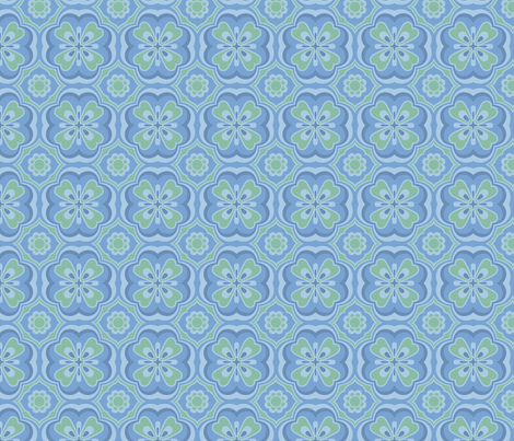 Retro Number 9 in Moody Blue fabric by bradbury_&_bradbury on Spoonflower - custom fabric