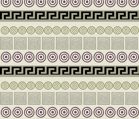 Ancient Greeks, cream - horizontal fabric by wiccked on Spoonflower - custom fabric