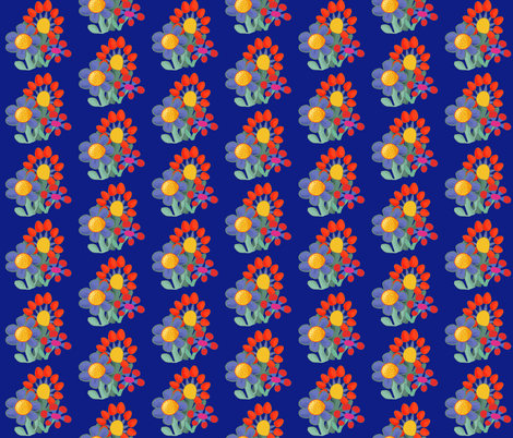 naive_bouquet_blue-1 fabric by daisydawn on Spoonflower - custom fabric