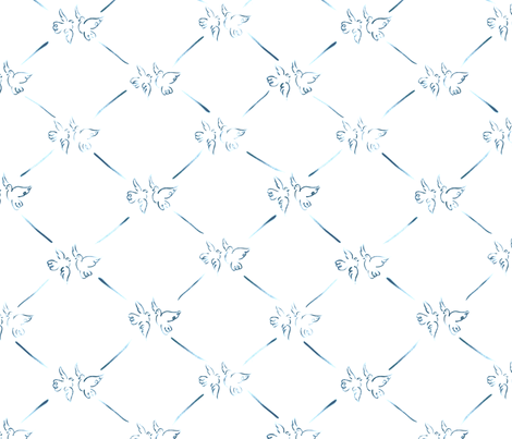 Doodle Doves - Small fabric by tuppencehapenny on Spoonflower - custom fabric