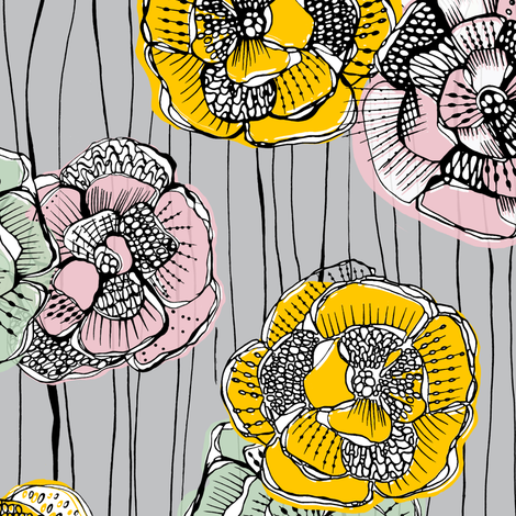 Fabulous Fifties Flowers fabric by uzumakijo on Spoonflower - custom fabric